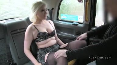 Blonde gets doggy style in fake taxi
