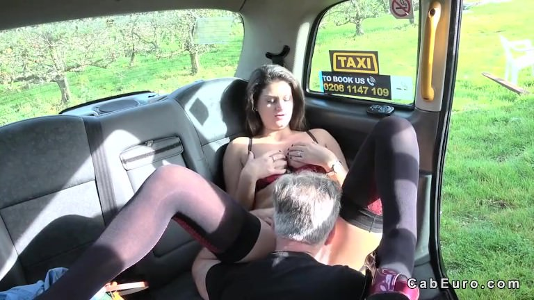 Babe in lingerie doggy banged in fake taxi