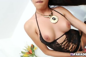 Sexy TS Babe Nelly Enjoys Pleasing Herself