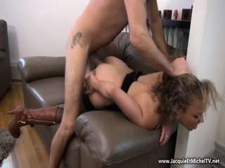 Curly Babe With Long Boots Gets Pounded