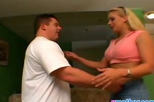 Busty blonde step mom takes long dong in cunt