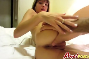 Asshole of blonde babe Gina filled in hotel room