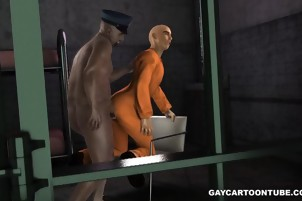 3D cartoon prisoner gets fucked anally by a fat black cop