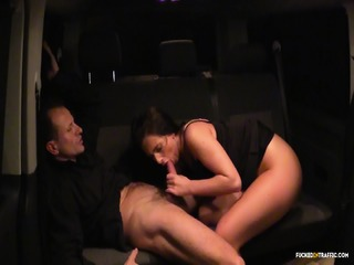Fucked In Traffic - Hot Black Haired Czech Babe Eats Cum In Hot Hardcore Car Sex