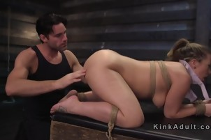 Big booty slave gets spanked and vibed