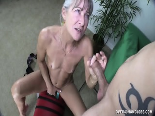 Mature Lady Uses Fucking Machine And Rubs Cock
