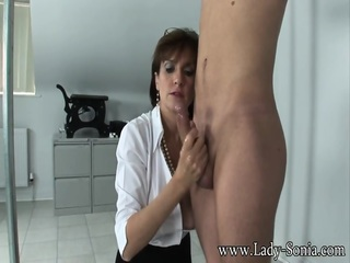 Helpless Young Man Masturbated By Mature Lady