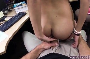 Exploited big tits College Student Banged in my pawn shop!