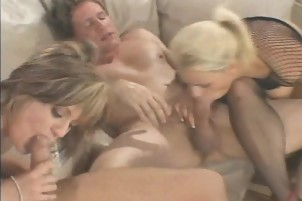 Sexy babes toy each other and then take huge dicks
