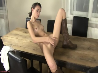 Sexy Babe With Boots In Solo Action On Table