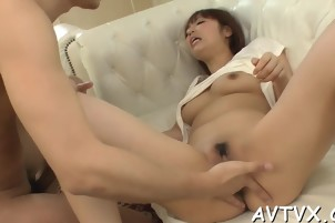 Asian chick gives stud a fantastic cock riding experience