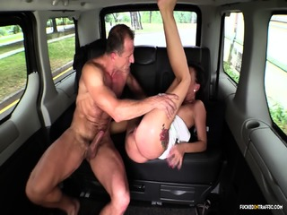 Fucked In Traffic - Brunette Czech Babe Sucks And Fucks In The Backseat Of The Car