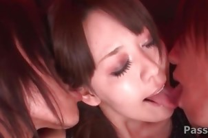 Brunette cutie Akari Minamino getting a threesome