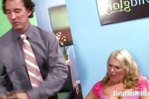 Receptionist caught playing with her pussy