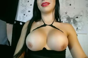 Cute big tits shemale play and cum with her cock on webcam