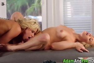 Lesbian blondes in stockings and lingerie lick and finger