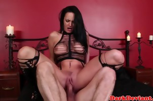 Busty masturbating sub roughly throated after electrosex