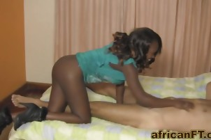 Hot african slut rides cock like a total pro