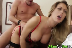 Watched babe gets fucked and spunked over as voyeur rubs cunt