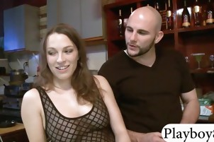 Two tight brunettes hot 3way sex with bald man for cash