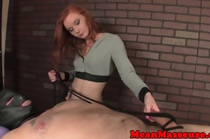 Mean ginger masseuse cum controlling customer with hj