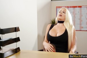 Busty blonde bombshell Nicolette Shea pounded on office desk