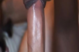 Interracial dick riding and blowjob with nasty African slut