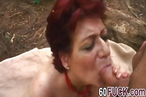 Chubby Granny Tamara Gives Head To Big Dick In Woods