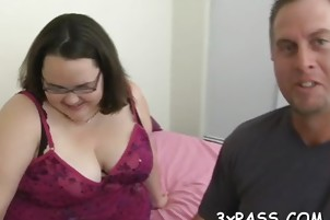 Chubby bitch gets her clean shaved pussy nailed on camera