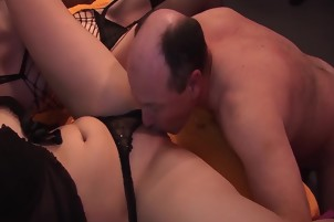 hot chicks in a real gangbang orgy