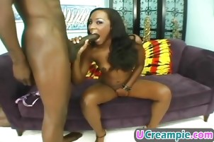 Black chick gets cum in shaved pussy after banging