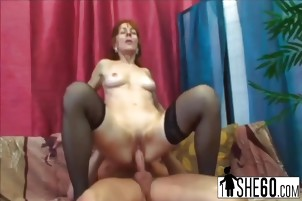 Horny granny Ivette rides a big cock in reverse cowgirl