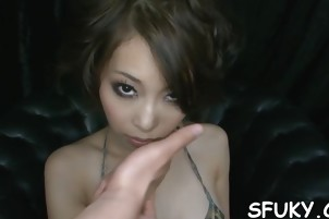 Asian pretty chick gets plowed and her pussy squirts