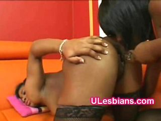 Stockings lesbian goes naughty drilling hot booty sista