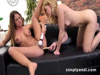 Brunette Nicole Vice Gets Her Tight Ass Fucked In Lesbian Anal Scene
