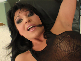 All in black MILF gushes up a sexy during pounding