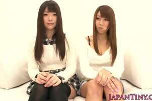 Gorgeous petite japanese babes fingered in threeway