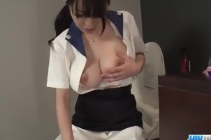 Yui Satonaka enjoys vibrator over her pussy and