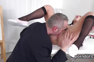 Pretty schoolgirl gets teased and poked by her older schoolte