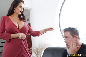 Booby MILF Ava Addams sucks off and gets fucked by bandit