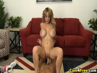 Busty Blonde Deepthroats And Rides A Big Cock