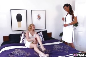 Blonde wife fucked by a ladyboy shemales hard cock