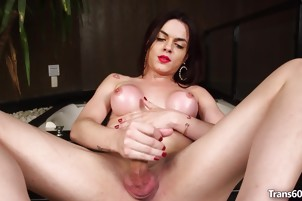 Shemale Leticia Alves Jerks Off Solo