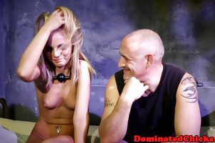 Petite slave screwed by big cock in dungeon