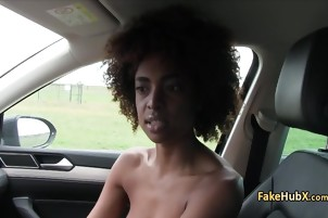 Ebony gal fucks fake agent for cash