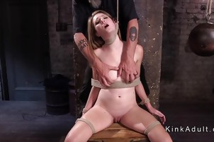 Hogtied brunette caned and whipped
