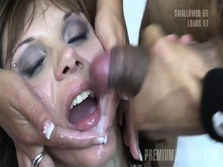 Premium Bukkake - Michelle Swallows 83 Huge Mouthful Cumshots