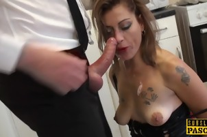 Assfucked mature British sub throated til gagging on her tits