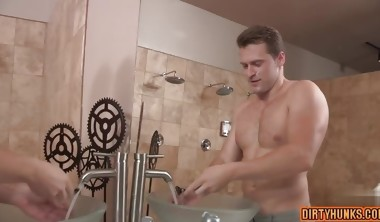 Muscle gay anal sex with creampie 2s