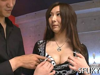 Japanese whore squirting from her shaved pussy with a vibrator